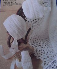 "PATTERN FOR A CROCHET BABY SHAWL 48"" SQUARE & KNITTED BONNET, HELMET, MITTENS"