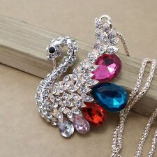 Fashion gold plating Color crystal Swan sweater chain necklace FF251