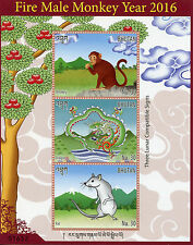 Bhutan 2016 MNH Year of Fire Male Monkey 3v M/S Chinese Lunar New Year Stamps