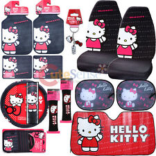 Hello kitty Core Car Seat Covers Accessories 14pc Set w/Full Sunshade Belt Cover