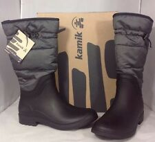 NEW KAMIK Winter Women's Snow Boots Size 7 Black Grey Lined Rubber Rain Shoes
