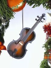"FIDDLE WOODEN 5"" MUSICAL INSTRUMENT CHRISTMAS ORNAMENT"