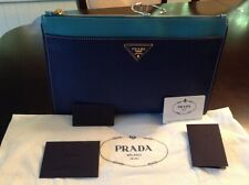 Prada Saffiano Bicolor Clutch, Blue Multi Bluette/Turchese Leather
