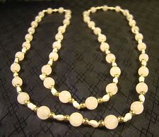 "Very Pretty Rose Quartz Fresh Water Pearl And Gold Bead 30"" Necklace"