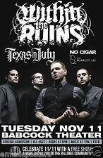 WITHIN THE RUINS/TEXAS IN JULY/NO CIGAR 2014 MONTANA CONCERT TOUR POSTER - Metal