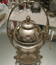 SUPERB   ANTIQUE VICTORIAN SILVER PLATE DOME STANDING  CAVIAR BUTTER DISH