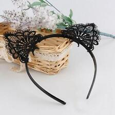 Fashion Black Lace Cat Ears Headband Animal Party Costume Head Hair Accessory F