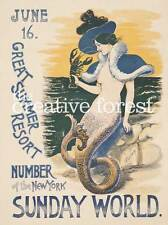 MERMAID OF SUMMER, Vintage Travel Poster Rolled CANVAS ART PRINT 24x31 in.
