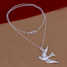 New Women 925 Sterling Silver Plated Cute Swallow Pendant Necklace Chain Jewelry