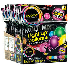NEW illooms LED Light Up Natural Latex Party Balloons - Assorted Colors Pack/15