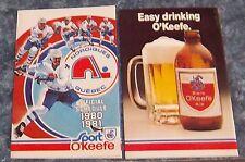 Quebec Nordiques pocket schedule  1980-81 NHL