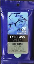 EYEGLASS MOIST CLEANING WIPES Sunglasses Binoculars Camera Lens 20ct/ pk