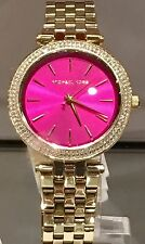 NWT MICHAEL KORS Mini Darci Gold Glitz Fuchsia Pink Dial 33mm Watch MK3444 $250