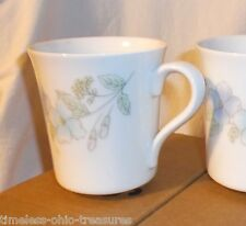"Corning mugs cups set of 4 pastel flowers 4"" high boxed 3 1/2"" high"