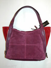 Tignanello Wine Suede Color-Block Zip Code Shopper New $169