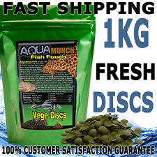 AQUAmunch Vege Disc Algae Wafers Aquarium  Catfish Fish Food 1kg Spirulina 10mm