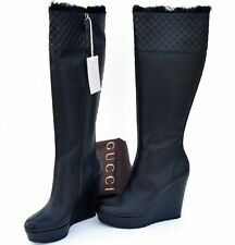 GUCCI New sz 38 - 8 Auth Designer Guccissima GG Womens Boots Shoes zip black