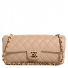 Auth Chanel Camel Beige Caviar East West Classic 2.55 Shoulder Flap Bag Baguette
