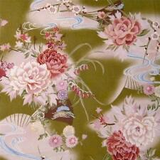 Ohana by Maywood, A Gentle Asian Print, Pink Chrysanthemums on Sage, Per 1/2 YD