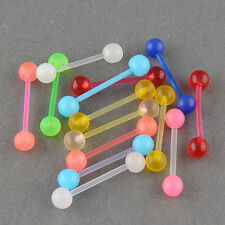 7pcs Glow Tongue Bars Rings Body Piercing Jewelry Belly Navel Button  Ring