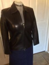 Talbots Woman's Black Leather Jacket  Size 4.  Soft Leather, Front Zip & Pockets