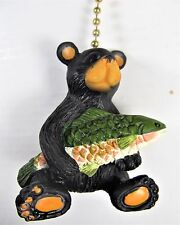 Ceiling Fan Pull Black Bear holding a trout wildlife home decor