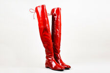 """Stuart Weitzman NWOB Red Patent Leather """"Landing"""" Over the Knee Boots"""