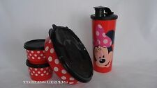 Tupperware Disney MINNIE MOUSE Magical Snack Set Tumbler Bowl & 2 Snack NEW Red