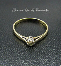9ct Gold 0.1ct Diamond Solitaire Ring Size O 1/2 1.32g