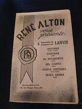 Partition 6 Nouveautés du Compositeur Lanvin René Alton