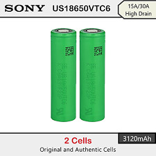 2 x Sony US18650VTC6 3120mAh - 15A/30A High Drain Rechargeable Lion Battery 3.7V