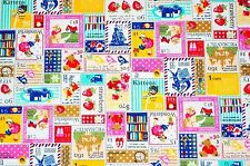 ~ FQ Multicolor Pink Blue White Yellow Cute Cartoon Stamp Design Cotton Fabric ~