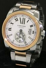 Cartier Calibre 3389 SS/18K Rose Gold 42mm automatic men's watch w/ box & papers