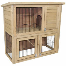 RABBIT HUTCH GUINEA PIG HUTCHES 2 TIER DOUBLE DECKER CAGE RUN RUNS HINGED ROOF