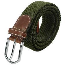 Stylish Braided Unisex Woven Stretch Elastic Leather Buckle Belt Waistband Belt