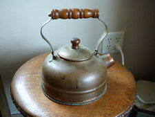 VINTAGE COPPER TEA KETTLE POT  - WOOD AND BRASS HANDLE - WHISTLE CAP MISSING