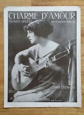 """VINTAGE 1907 SHEET MUSIC """"CHARME D'AMOUR (LOVE'S SPELL)"""" LARGE FORMAT PIANO SOLO"""