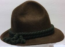 "Vtg Austrian Governor Green Tassel Brown Wool Hat Size 20"" Hiking Mountain Hike"