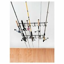 Ceiling Rod Rack Storage Reel Fishing Mount Horizontal Pole Wood Holder Wall