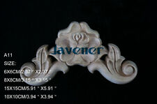 10x10cm Wood Carved Corner Onlay Applique Flower Cabinet Rose Unpainted A11 QTY4