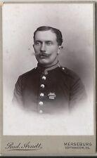 Soldat mit Orden, Preussen Landwehr-Auszeichnung, Foto aus Merseburg um 1910 CDV