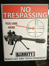 GUN STICKER `NO TRESPASSING, BARRETT SNIPER RIFLES WARNING STICKER