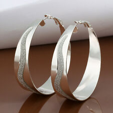 """New! 2014 925Sterling Silver Lady Large Circle with """" S """" Marked Earrings ELB463"""
