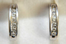 14K Solid White Gold and 14 Diamonds Earrings - 2.26 grams