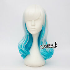 55CM Party Lolita Long Wavy Women White Mixed Sky Blue Hair Cosplay Wig+Wig Cap