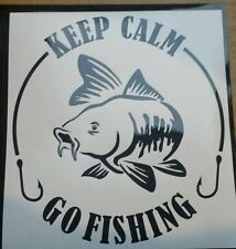 Keep calm go fishing - Custom black vinyl car sticker, decals, graphics