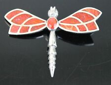 Vintage Hand Crafted Red River Jasper Stone Dragonfly Brooch Firm Tail