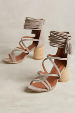 JEFFREY CAMPBELL DESPINA TAUPE SUEDE OPEN TOE STACKED HEEL ANKLE CUFF SANDAL 8.5