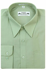Paolo Giardini Mens Cotton Blend Regular Fit Dress Shirt Standard Cuff