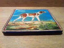 RARE Dessous de plat en émaux de LONGWY XIXème décor au chien de chasse Spring
